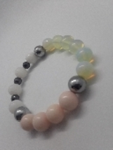 Moonstone bracelet with Hematite and Jade - $21.00