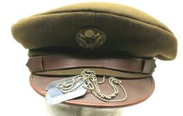 Original 1943 US Army Warrant Officer Service Visor Wool Cap Size 6 7/8+... - $51.41