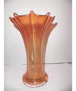 """Vintage Northwood Carnival Glass Marigold Signed Wide Rib Vase 7.5"""" H - $39.95"""