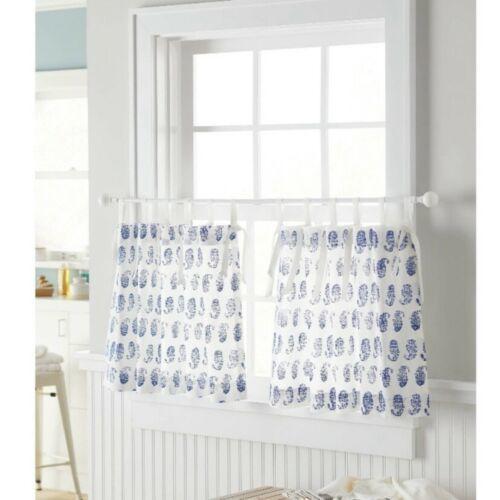"Threshold Light Filtering Cafe Curtain Set (2 Panels) Blue Paisley 42""x24"" - $24.74"