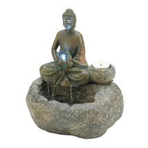 Buddha Table Fountain, Decorative Home Water Fountain, Polyresin - $59.73