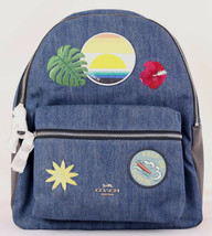COACH Patches Blue Denim Leather Charlie Backpack F28958 Hawai Surfing N... - $180.68