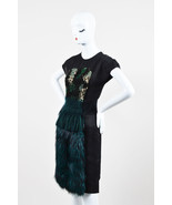 Fendi Black and Green Silk Blend Fox Fur Panel Embellished SS Dress SZ 42 - $1,205.00