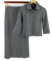 Ann Taylor Womens Skirt Suit Sz 4 Gray Blazer Jacket & Maxi Skirt Stretc... - $39.60