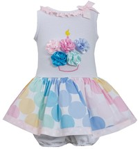 Bonnie Jean Baby Girl 3M-24M Multicolor Bias Dot Print Birthday Cupcake Dress