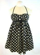Vtg 90s Betsey Johnson Sweetheart Dress Black Polka Dot Halter Top Mini Shift 6 - $24.74