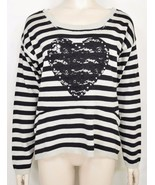 1 Tricotto sweater SZ S black taupe/beige striped scoop neck lace heart ... - $29.69