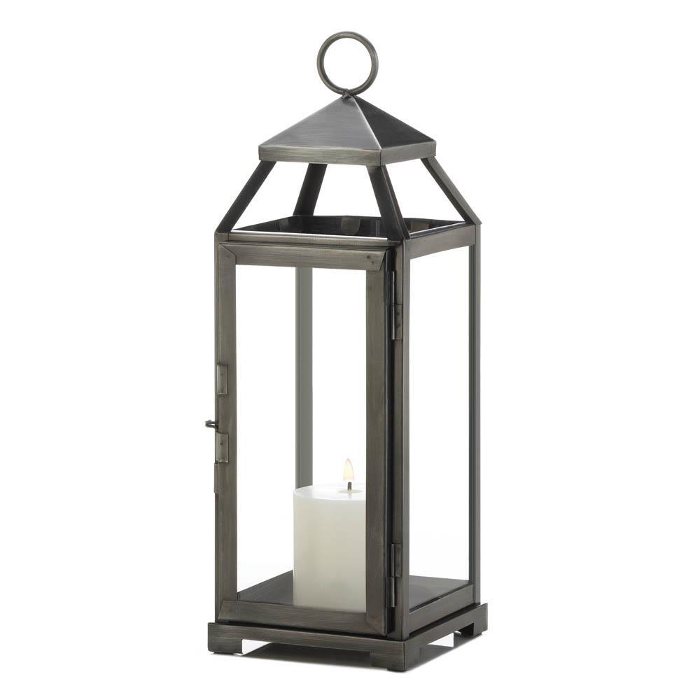 "Primary image for 10 Medium Contemporary Brushed Pewter Finish Metal Candle Lanterns 15"" High"