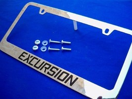 Ford Excursion Chrome License Plate Frame Engraved Black w/ Logo Screw Caps - $19.99
