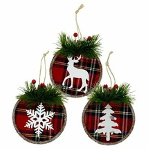 Christmas House Set of 3 Rustic Lodge Ornaments Reindeer, Snowflake and Tree - $6.50