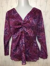 Women's Plus Size Long Sleeve Violet Purple Blouse w/ Knot 26W/28W - $13.52