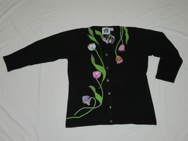Storybook Knits Black Tulips Floral Vibe Sweater Long Sleeve Cardigan La... - $49.99