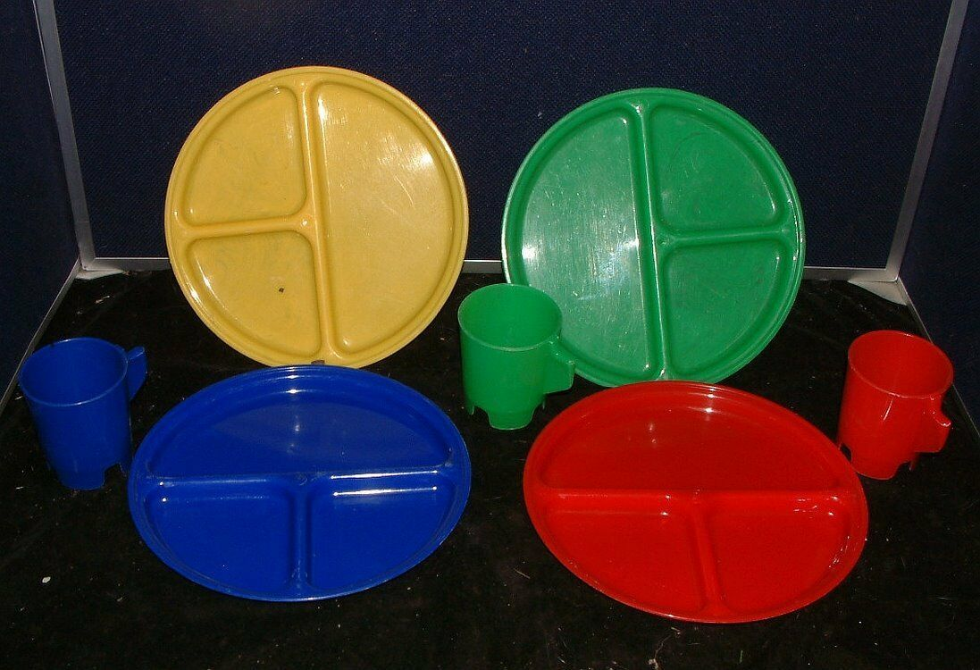 Vintage Picnic Plate And Cup Set Jerywil Camping Set Of 3 Summer Dish Ware - $19.79