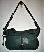 FOSSIL Teal Leather Satchel Purse Handbag PLUS MATCHING Wallet - $79.19