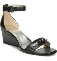 Naturalizer Zenia 2 Women Ankle Strap Wedge Sandals Size US 7M Black Lea... - $32.94