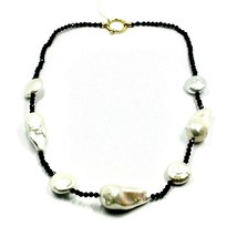 """18K YELLOW GOLD 18"""" 45cm NECKLACE FACETED BLACK SPINEL BIG DROP DISC PEARLS image 1"""