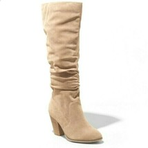 "Universal Thread Women's Faux Suede Taupe Lanae 3.5"" Heeled Scrunch Boots NEW"