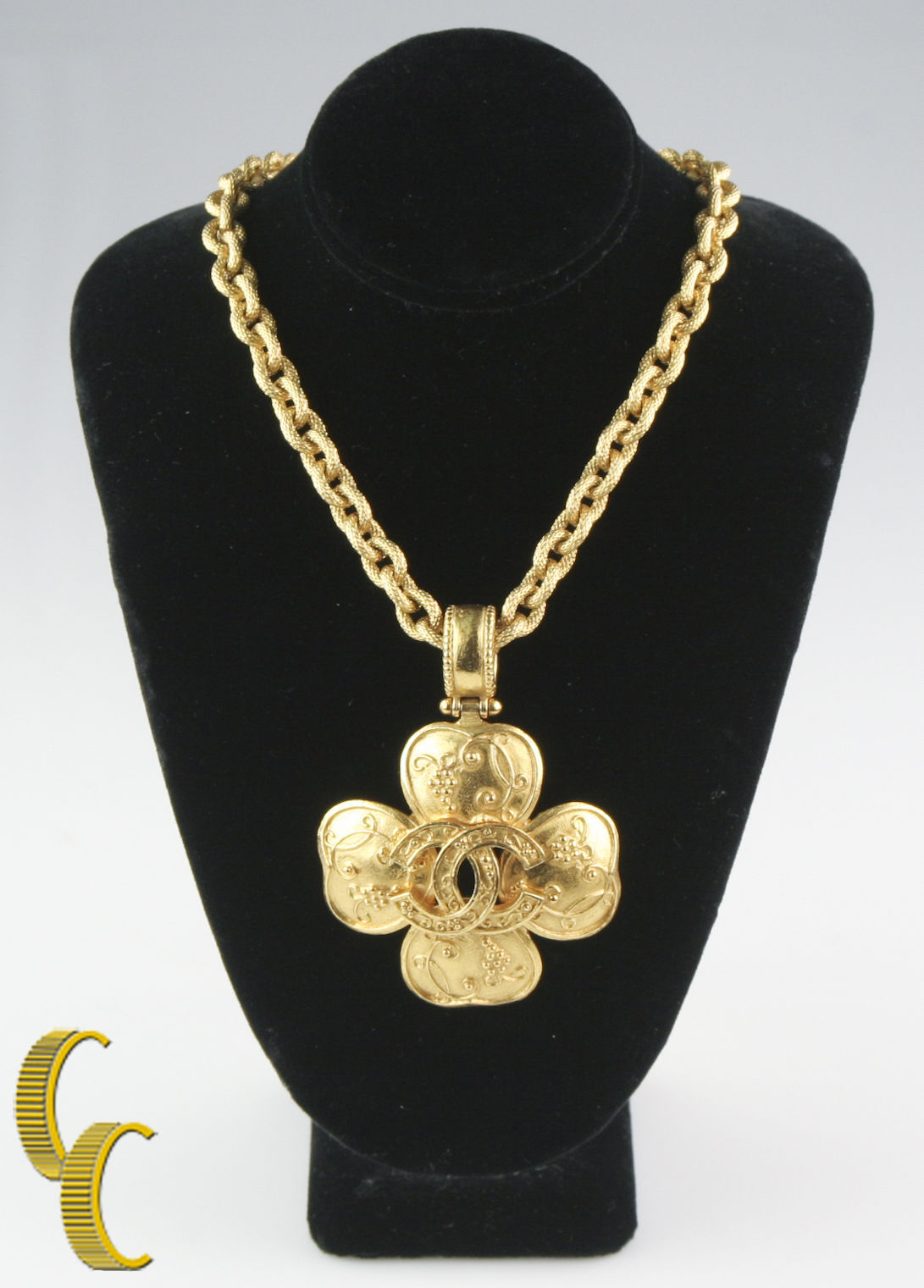Chanel necklace pendant 1 listing gorgeous vintage chanel clover chunky gold plated necklace pendant 890 grams 118800 aloadofball Choice Image