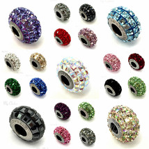 Swarovski European Fit Bracelet Charms Stainless BeCharmed Pave Square C... - $13.79+