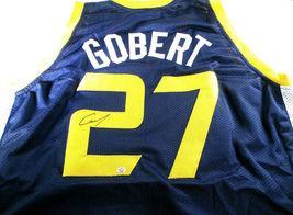 RUDY GOBERT / AUTOGRAPHED UTAH JAZZ BLUE CUSTOM BASKETBALL JERSEY / COA image 1