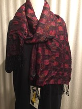 Women's Scarf Wrap Checks, Multicolored, Rayon/Metallic Cejon NWT $28 - $16.00