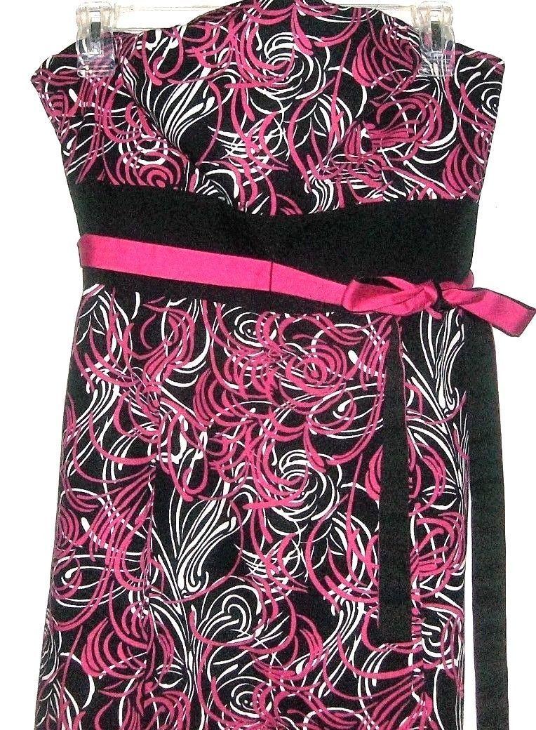 ANN TAYLOR LOFT BLACK PRINTED STAPLESS DRESS SIZE 6