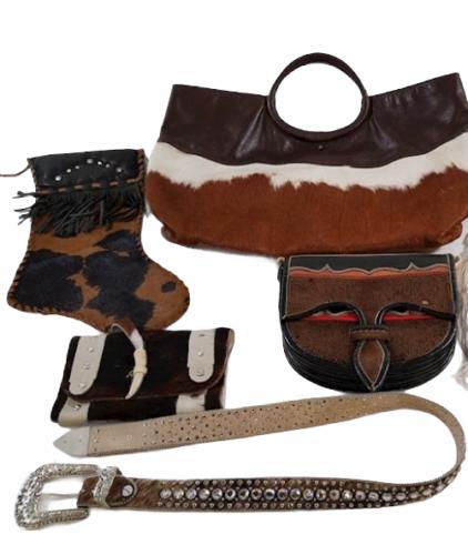 Leather Suede Cowhide Handcrafted Lot - Belt Handbag Bag Purse Clutch Stocking