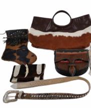 Leather Suede Cowhide Handcrafted Lot - Belt Handbag Bag Purse Clutch Stocking image 1