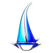 #10017382   *Blue Sailboat Inspired Art Glass Sculpture* - $62.41