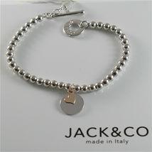 Silver 925 Bracelet Jack&co with Balls Shiny Gold round Pendant & Pink 9 KT image 3