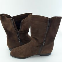 Jack Sprat Brown Suede Genuine Leather Floral Embroidered Sz 10 M Ankle Boots image 6