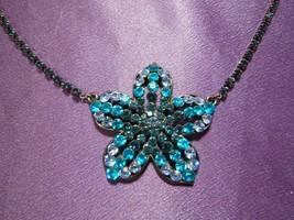 Vintage Teals & White Rhinestone Flower Chain Necklace - $29.70
