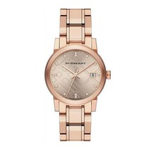 Burberry BU9126 Rose Gold Diamond Stainless Steel Women's Watch 34mm - $257.00