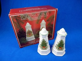 Christmas Salt & Pepper Shakers ~ Pfaltzgraff, Hand Painted Christmas Trees - $24.45