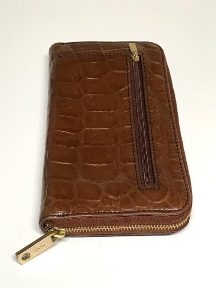 """Fossil Brown Crocodile Embossed Style # Sl4731. Wallet 7""""L x 4""""W x 0""""H"""