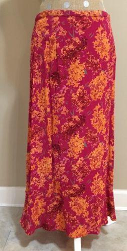 JM Collection Long Skirt 12 Pink Multi-Color Floral Rayon Modest Career No Split