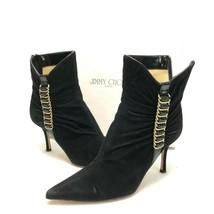 Jimmy Choo Emma 86mm Ankle Boots Black Suede Black Jazz Size 37 Stiletto Heels - $218.33