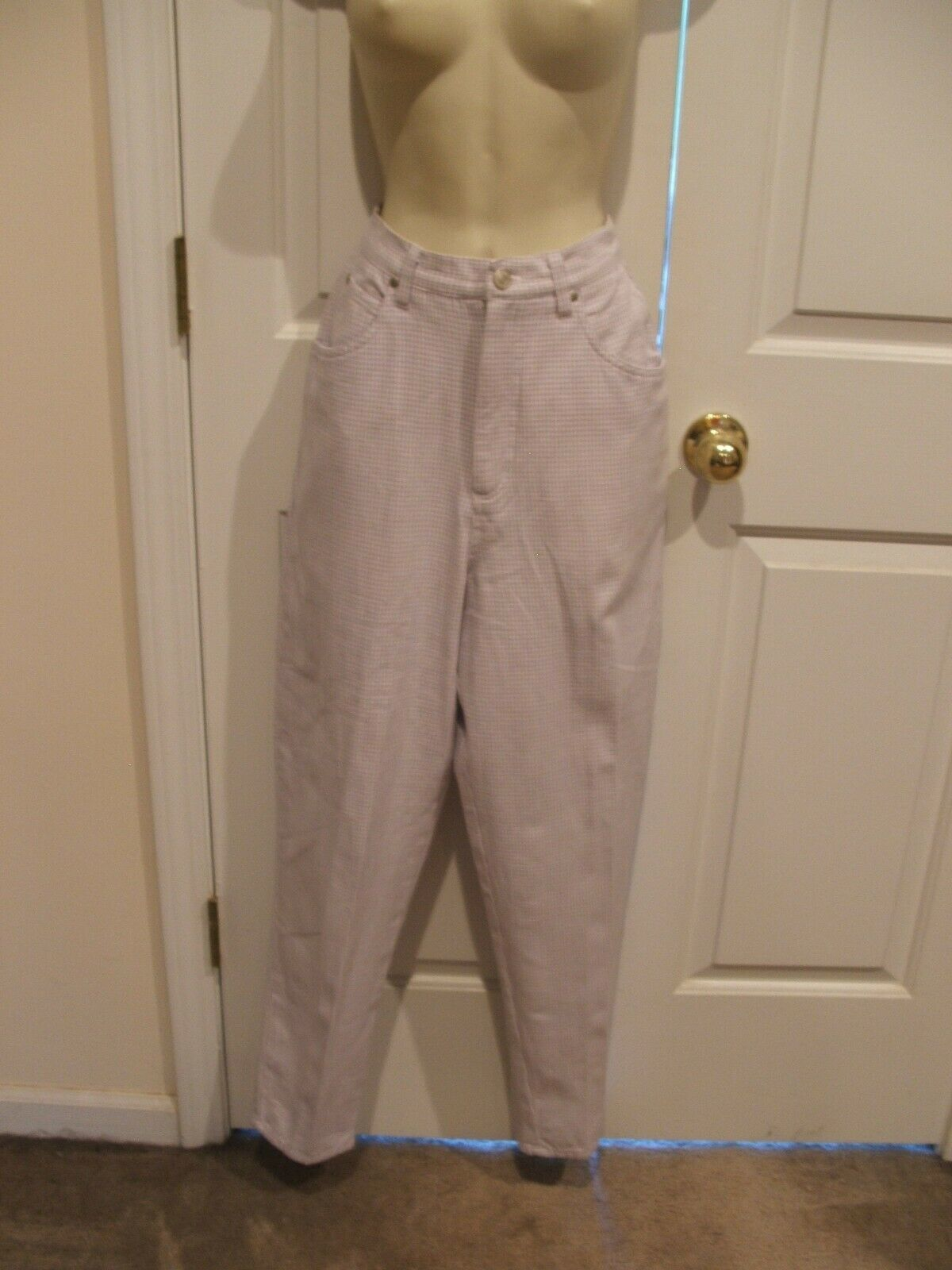 Primary image for NEW IN PKG Newport News  Classic Style  LILAC WHITE CHECK 5 POCKET JEANS SZ 8