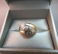 VTG 14K Yellow Gold Ring 13 Diamonds 3/4 CTW SZ 6 Wide Band 5.83g Sizeab... - $494.01