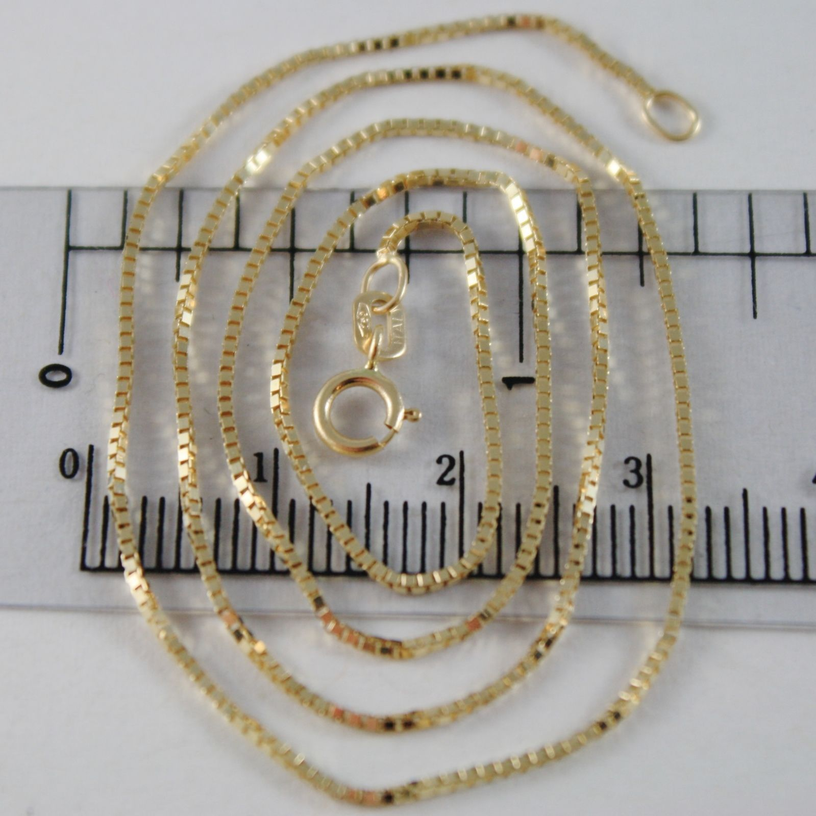 18K YELLOW GOLD CHAIN 1 MM VENETIAN SQUARE MESH 15.75 INCHES, MADE IN ITALY