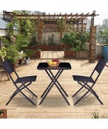 Square Table 2 Chairs Set Oudoor Patio 3 Pcs Bistro Sets Garden Folding ... - $103.48