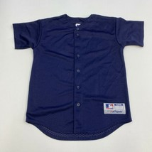 Majestic Team MLB Jersey Mens Youth Large Navy Button Up Mesh Lined Base... - $18.95