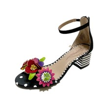 Betsey Johnson INDY Cut-Out Flowers Striped Block Heel Polka Dots Sandals Wm's - $46.99