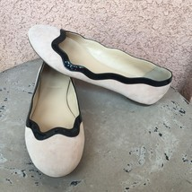J Crew Flats Sz 6.5 Beige Suede Black Scalloped Patent Leather Slip On R... - £28.85 GBP