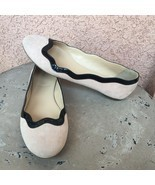 J Crew Flats Sz 6.5 Beige Suede Black Scalloped Patent Leather Slip On R... - £28.70 GBP