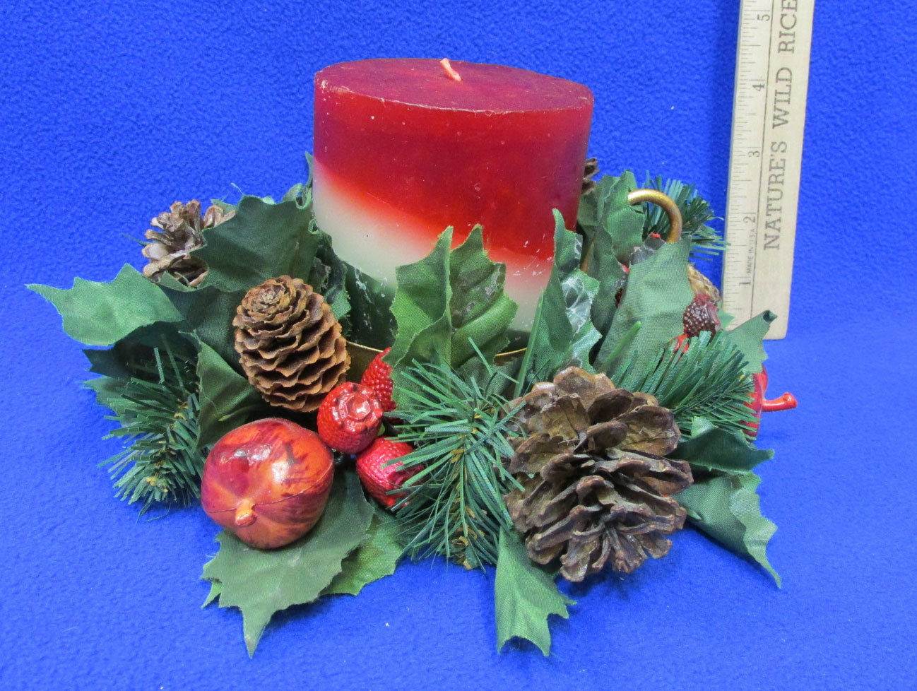 Primary image for Candle Holder Faux Greenery Pine Cone Candle Ring & Holiday layered Candle Lot 3