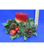 Candle Holder Faux Greenery Pine Cone Candle Ring & Holiday layered Cand... - $15.83