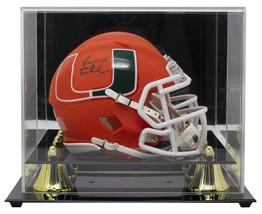 An item in the Sports Mem, Cards & Fan Shop category: Vinny Testaverde Signed Hurricanes Mini Orange Spd Replica AMP Helmet w/Case JSA