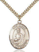 14K Gold Filled San Judas Pendant 1 x 3/4 inch with 24 inch Chain - $142.59