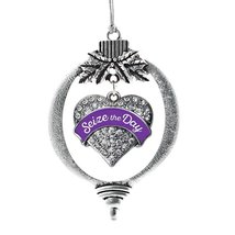 Inspired Silver Seize the Day Epilepsy Awareness Purple Pave Heart Holiday Decor - $14.69